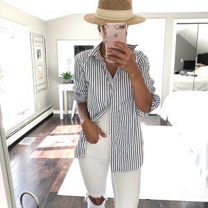 Lauren Ralph Lauren Blue white stripe button down